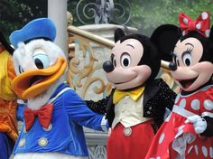 Mickey, Minnie & Donald in the Believe in dreams show.
