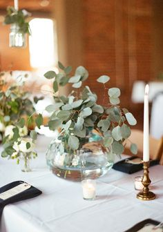 Trendy Ideas For Wedding Table Greenery Centerpiece Eucalyptus Centerpiece, Greenery Centerpiece, Unique Centerpieces, Wedding Table Centerpieces, Wedding Decorations, Centerpiece Ideas, Wedding Ideas, Fishbowl Centerpiece, Round Wedding Tables