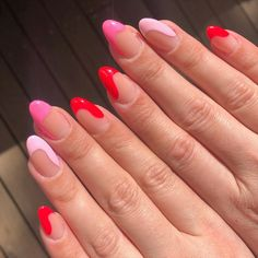 Uploaded by 𝐻𝑒𝓎, 𝒷𝑒𝒶𝓊𝓉𝒾𝒻𝓊𝓁🥀. Find images and videos about pink, nails and color on We Heart It - the app to get lost in what you love. Aycrlic Nails, Swag Nails, Coffin Nails, Red Tip Nails, Pin Up Nails, Heart Tip Nails, Stylish Nails, Trendy Nails, Essie