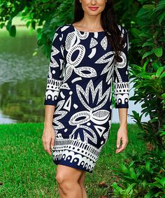 Love this Navy & White Floral Three-Quarter Sleeve Shift Dress on #zulily! #zulilyfinds