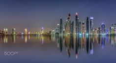 Cluster - Evening view of Dubai  Marina Skyline shot from the Palm , I have tried bit different processing from my usual skylines, hope you like it !