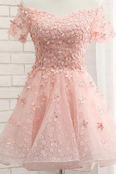 Boat neck flowers cap sleeves knee length laced up back pink homecoming dresses