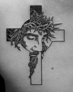 Cross tattoo on breast blackwork by Irina Fedorenko Cross Tattoo For Men, Cross Tattoo Designs, Angel Tattoo Designs, Tattoo Design Drawings, Jesus On Cross Tattoo, Jesus Tattoo Design, Line Tattoos, Body Art Tattoos, Sleeve Tattoos