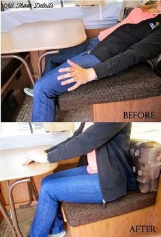 How to secure tent trailer dinette cushions that slide all over. An easy fix with velcro!