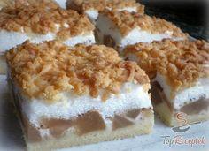 Almás szelet tojáshabbal | TopReceptek.hu Krispie Treats, Rice Krispies, Breakfast Recipes, Sweet Tooth, Cheese, Cake, Food, Deserts, Chocolates