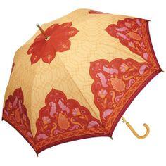 Ana Davis Red and Orange Cupola Automatic Open Designer Cane Umbrella
