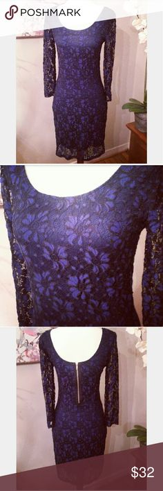 Gorgeous Blue & Black Floral Lace Dress New with tags! Gorgeous blue & black floral lace dress. Exposed zipper in back.  Smoke free home. Posh ambassador. Xtraordinary Dresses