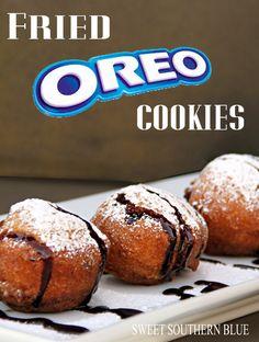 Fried Oreo Cookies with powder sugar and chocolate sauce