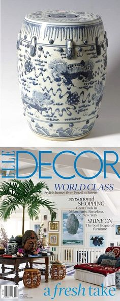 Garden Stools, Chinese Blue & White Porcelain Art Stool Side Table, as featured by Elle Decor Magazine, one of over 3,000 limited production interior design inspirations inc, furniture, lighting, mirrors, tabletop accents and gift ideas to enjoy repin and share at InStyle Decor Beverly Hills Hollywood Luxury Home Decor enjoy & happy pinning
