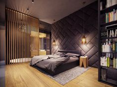 A Creative, Rustic Home with Retro Geometric Features A rustic home does not have to mean a secluded cabin in the woods. The home featured in this post, from visualizer Plasterlina includes rustic elements like lot zuhause Luxury Bedroom Design, Bedroom Bed Design, Modern Bedroom Decor, Interior Design, Bedroom Ideas, Bedroom Designs, Cozy Bedroom, Bedroom Furniture, Rustic Bedrooms