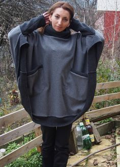 Comfortable Warm Knitt Fleece Poncho with by NaraAtelier65 on Etsy