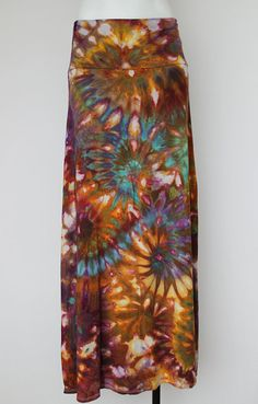 Tie Dye Maxi skirt ice dyed Size Large Na's by ASPOONFULOFCOLORS