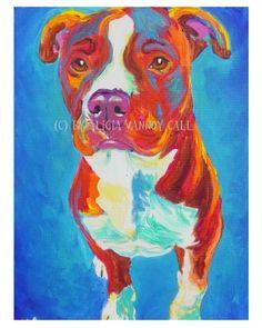 Colorful Pet Portrait Pit Bull Art Dog Print, DawgArt, FREE SHIPPING