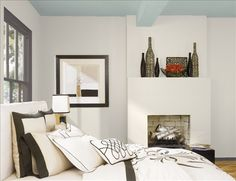 Benjamin Moore Design Your Own Room with Cumulus Cloud on walls and Beach Glass on ceiling.