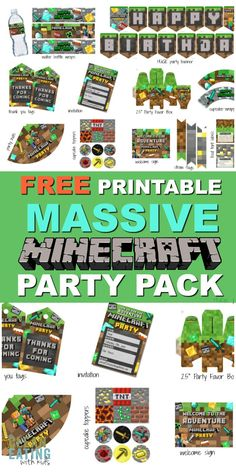 MASSIVE Minecraft Printable Party Pack - Clean Eating with kids This is Insane! It is HUGE. Includes banner, invites, party favor, party hats and so much mor Minecraft Birthday Invitations, Minecraft Party Favors, Minecraft Birthday Party, Minecraft Cake, Minecraft Sword, Play Minecraft, Minecraft Bedroom, Minecraft Crafts, Minecraft Skins