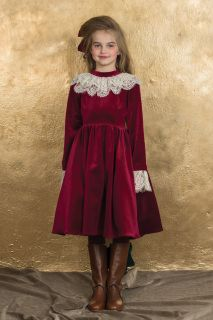Elizabeth Dress in Ruby Red VelvetAristocrat Kids Fall 2015 Collection Pre-order. Ships no later than June 2015.