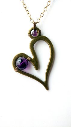 Boho Chic Pendant, Amethyst Jewelry, Large Solid Brass Pendant, Amethyst Pendant, Symbolic Jewelry, Heart Necklace, Brass Jewelry