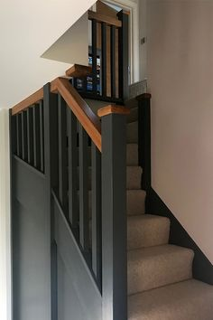 Grey Painted StaircaseDeep slate greys and highlighted charcoals are very much in fashion. Whether it be for painting a chimney breast, interior doors or a staircase; this appealing tone is dark enough to complement most colour schemes without being Stair Banister, White Staircase, Carpet Staircase, Staircase Remodel, Staircase Makeover, Staircase Design, Staircase Banister Ideas, Grey Stair Carpet, Staircase Lighting Ideas