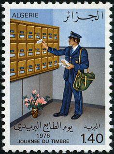 Stamp: Postman before House letterbox (Algeria) (Stamp Day) Mi:DZ 680,Sn:DZ…