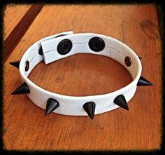 Genuine Leather White Spiked Bracelet with 10mm by ToxifyDesigns