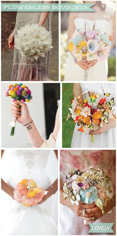 Flowerless wedding bouquets, alternate wedding bouquet, wedding ideas and inspiration, feather, brooch, pompom, butterfly and paper flower bouquets, Wouldn't it be Lovely
