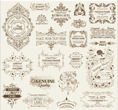 cnc world: Vintage deco labels and banners dxf