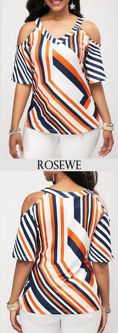 Printed Cold Shoulder V Neck Blouse Shifon Blouse, V Neck Blouse, Trendy Tops For Women, Blouses For Women, Blouse Styles, Blouse Designs, African Tops, Trendy Dresses, Casual Tops