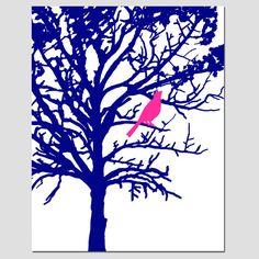 Pájaro en un árbol vivero moderno arte Decor por Tessyla en Etsy
