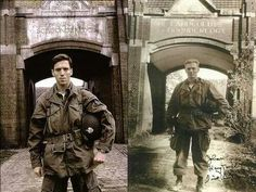 Major Dick Winters of Easy Company - real on the right, Band of Brothers on the left.