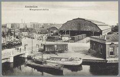 prentbriefkaart van het Weesperpoortstation in Amsterdam, ca. 1915