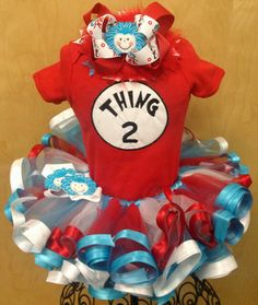 Thing 1 or 2 Tutu Set Includes Tutu Top and by preciousbabygifts, $70.00 (Perfect for Halloween!!)