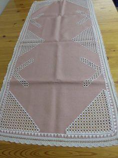 Leinen-Tischläufer, rosa, Spitze, Hardanger-Handarbeit, 51 x 110 cm