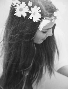 black and white, floral, flowers, girl, headband