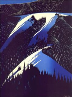Black Evergreen Forest  Black Evergreen Forest - Eyvind Earle    Artist: Eyvind Earle    Completion Date: 1981    Place of Creation: United States