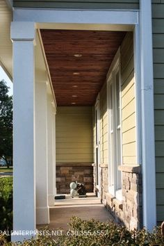 James Hardie Siding: Heathered Moss with Versetta Stone! Opal also installed a customer stained porch ceiling!