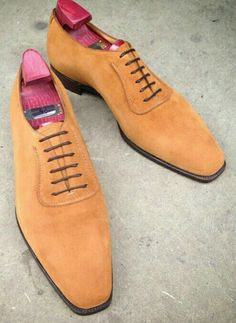 """A butter soft whole cut. The """"Westbury"""" in tobacco suede. Made to Order on the TG 73 last. Mens Shoes Boots, Leather Dress Shoes, Suede Shoes, Sock Shoes, Men's Shoes, Shoe Boots, Big Men Fashion, Mens Fashion Shoes, Fashion Boots"""