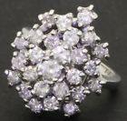14K white gold elegant 2.20CT stepped diamond cluster cocktail ring size 6.75