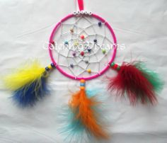 """5"""" Personalised Dream Catcher, in Hot Pink and White, with a mixture of colours beads added to the webbing and mixed feathers"""
