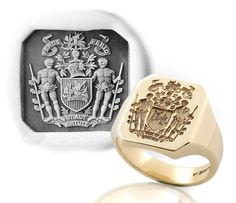 Octagonal Seal Ring Engraved with Bespoke Heraldic Coat of Arms With Supporters