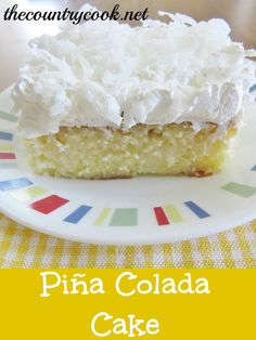 Piña Colada Poke Cake  1 box butter recipe cake mix  ingredients needed to make cake (softened butter, eggs, water)  1 (15 oz.) can Cream of Coconut (not coconut milk)  1 (14 oz.) can sweetened condensed milk  1 (15.25 oz.) can crushed pineapple in juice  1 (8 oz.) tub frozen whipped topping, thawed  sweetened coconut flakes, for topping