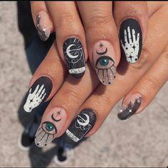 Edgy Nails, Grunge Nails, Funky Nails, Stylish Nails, Trendy Nails, Swag Nails, Edgy Nail Art, Black Nails, Stiletto Nails