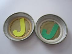 """""""Memory"""" Game using baby food jar lids and foam letters"""