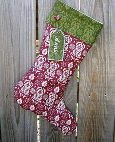 Personalized Christmas Stocking Green Damask Cuff