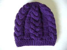 Hand Knit Purple Cabled Beanie Hat Wool Blend by Pitusa on Etsy