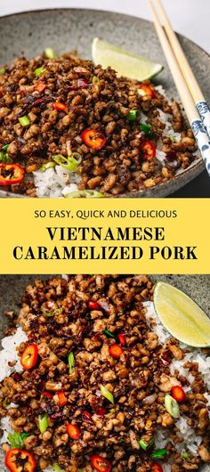 This Vietnamese Caramelized Pork is a great stir fry minced pork recipe that you should try. The ground pork is stir-fried in a sweet and sticky caramelized sauce.  The sauce has the perfect balance of sweetness, saltiness, tanginess, and with the right amount of heat! The caramelized sauce really makes the meat tender and flavorful.  #mincedpork #groundpork #stirfrymincedpork #stirfrygroundpork #vietnamese #asianpork #stirfry Best Pork Recipe, Pork Recipes, Asian Recipes, Chicken Recipes, Ethnic Recipes, Easy Cooking, Cooking Recipes, Asian Pork, Lunches And Dinners
