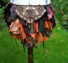 Steampunk Tribal belly dance costume bustle. Autumn pumpkin and chestnut tatter over skirt. Gypsy pixie repurposed festival clothing on Etsy, $69.27