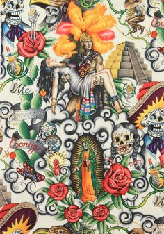 Alexander Henry fabric yard Contigo Mexican Aztec Sugar Skulls Day of The Dead in Crafts, Sewing & Fabric, Fabric Lettrage Chicano, Chicano Tattoos, Tattoos Skull, Tatoos, Art Tattoos, Animal Tattoos, Sleeve Tattoos, Mexican Skulls, Mexican Art