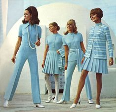 1970-1972 This era was full of pant suits with tops that looked like dresses, and the hemlines were based on midi and maxi skirt length. There was also some retro look from the 30's and 40's. (Pascale H.)
