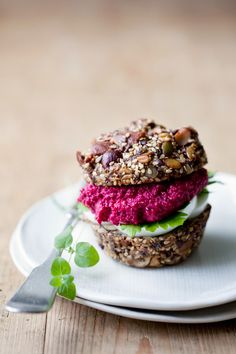 Paleo nut bread with beet topping