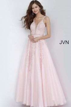 Captivate the crowd with this lovely ball gown style by Jovani to your upcoming social occasion. This daring dress features a beaded plunging ne. Blush Pink Prom Dresses, Off White Wedding Dresses, Pink Formal Dresses, Jovani Dresses, Formal Evening Dresses, Flower Dresses, Promotion Dresses, Perfect Prom Dress, Applique Dress